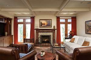 Craftsman, Living, Room, With, Rich, Warm, Colors, Tone, 50736