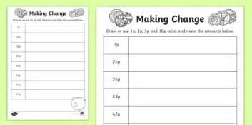 making change 1p 2p 5p and 10p coins worksheet worksheet ni ks1