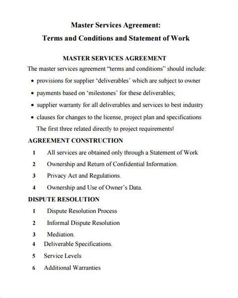 sample master service agreement templates