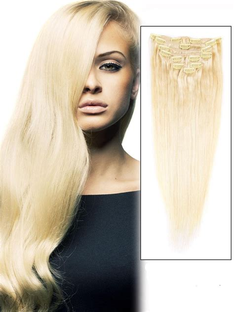 piece  blonde silky straight clip  indian remy