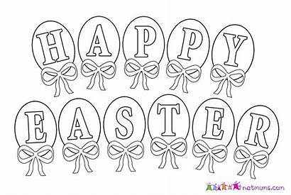 Easter Coloring Happy Pages Printable Clipart Banner
