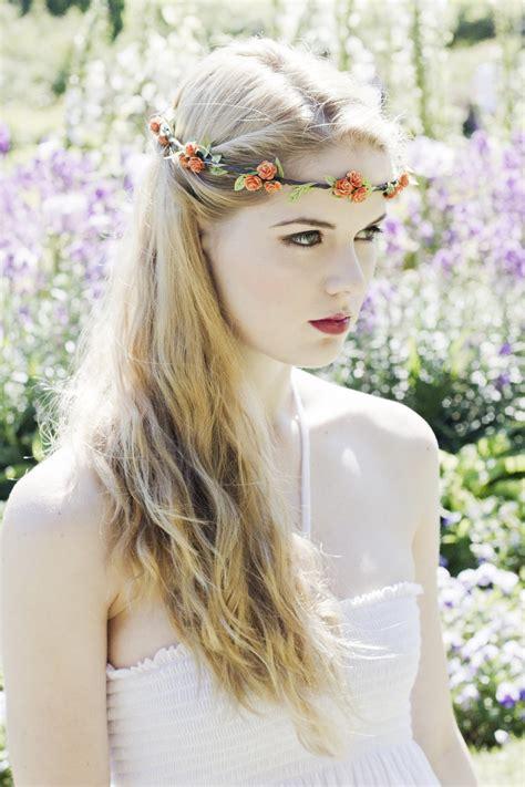 Orange Flower Crown Rose Headband Autumn Wedding