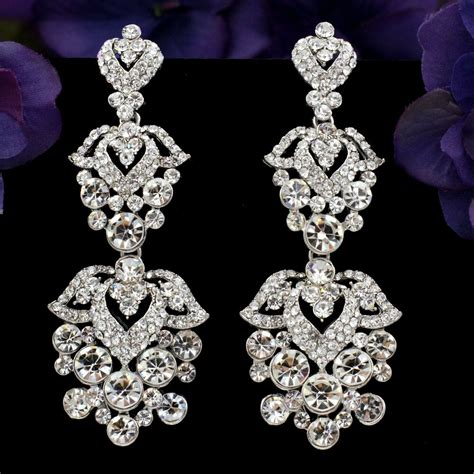 Chandelier Earrings Wedding by Rhodium Plated Clear Rhinestone Flowers Bridal