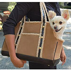 amazoncom luxurious soft shearling small dog purse style