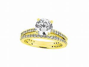 200ct round cut diamond engagement ring wedding band set for 18k gold wedding ring set