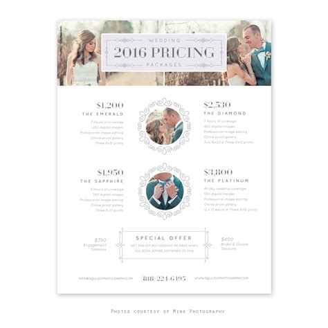 Product And Pricing Guide Accordion Psd Template For By Emmora Wedding Pricing Guide Template