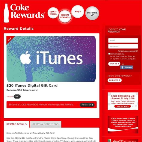 coke rewards 500 points for 20 itunes gift cards more ozbargain