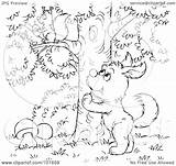 Dog Barking Outline Tree Coloring Clipart Squirrel Royalty Illustration Bannykh Alex Rf 2021 Copyright sketch template