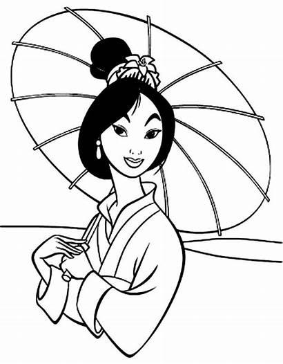 Mulan Coloring Disney Umbrella Princesses
