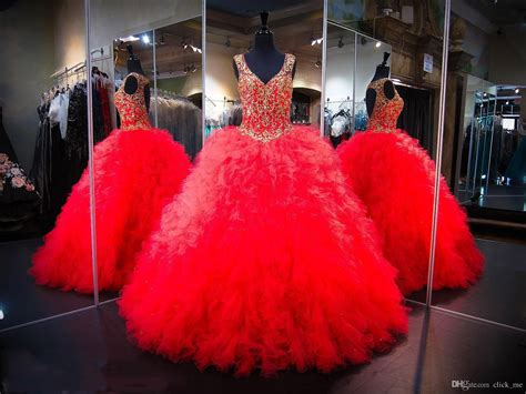 Red Ball Gown Quinceanera Dresses 2017 Open Back Sexy
