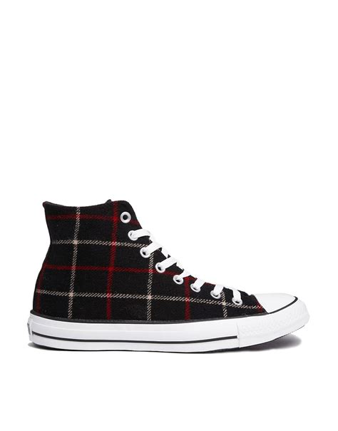converse converse all high top black plaid trainers at asos