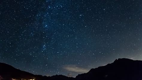 Stars Moving In Night Sky Over Mountains Time Lapse Milky