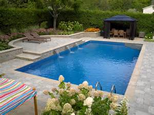 rectangle kitchen ideas rectangle pool with sheer descent water feature