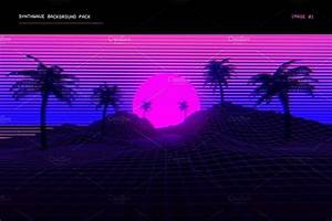 Synthwave, Retrowave, Background, Pack
