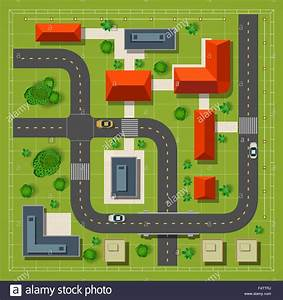 Map of a top view from the rooftops, city streets, trees ...