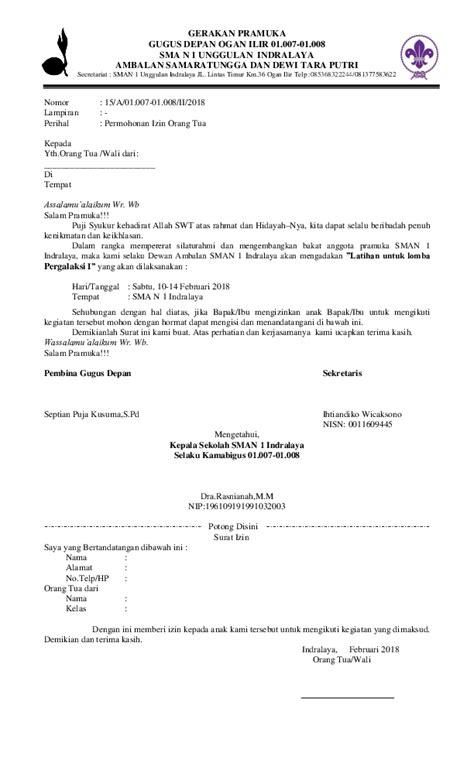 contoh surat izin  tua  lomba pramuka