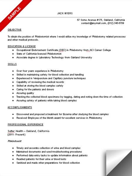 resume for phlebotomy instructor phlebotomist resume sle