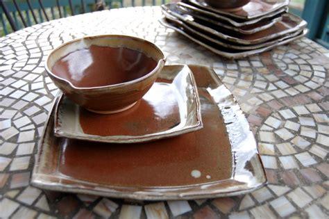 handmade pottery dinnerware set  rustic red square plate