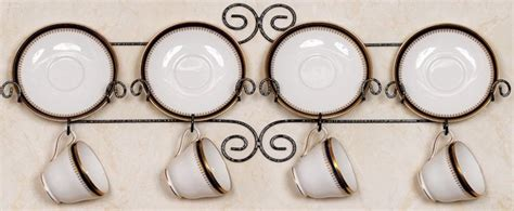 cup  saucer racks  rails wrought iron set   tea cup  saucer stands  hangers
