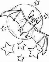 Bat Coloring Printable Moon sketch template