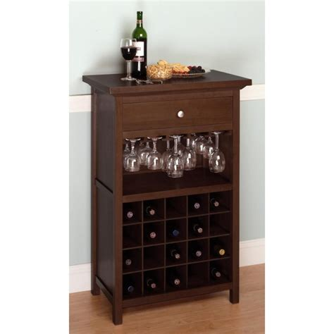 Diy Refrigerated Wine Cabinet by Winsome Wood Wine Cabinet With Drawer And Glass Rack