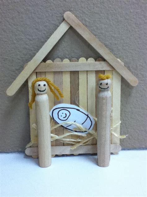 nativity scene craft  popsicle sticks glue wooden