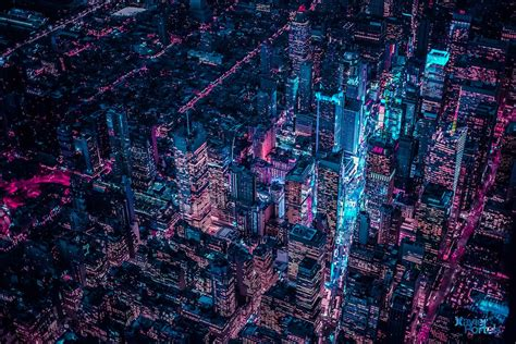 aerial    glowing  york city  xavier portela