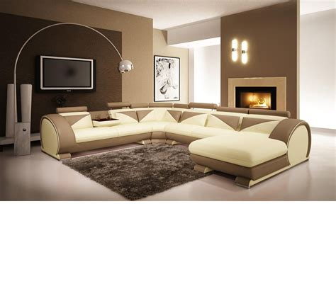 Light Brown Leather Sectional by Dreamfurniture Modern Beige And Light Brown Leather