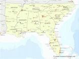 Southeastern US political map - by freeworldmaps.net