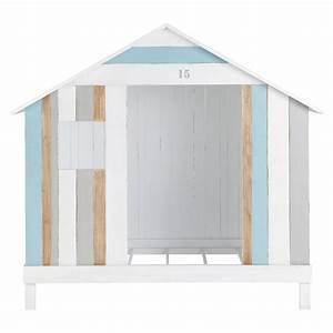 Lit Maison Bois : lit cabane enfant 90 x 190 cm en bois blanc et bleu oc an ~ Premium-room.com Idées de Décoration