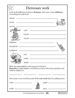 3rd Grade Reading, Writing Worksheets Using A Dictionary Root Words  Root Words, Short