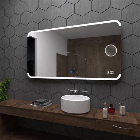 assen badspiegel mit led beleuchtung mit schminkspiegel led uhr und touch ebay