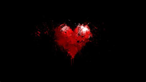 painted red heart  black background widescreen wallpaper