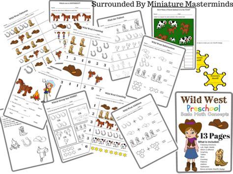 wild west preschool basic math concepts   page