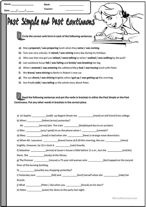 past simple and past continuous worksheet free esl