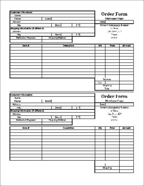 18366 duplicate order form free easy copy small basic order form with duplicate wide