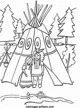 Coloring Native Pages American Teepee Coloriage Indien Thanksgiving Table Indiens Indians Colouring Crafts Pottery Indian Coloriages Preschool Kid Les Dessin sketch template