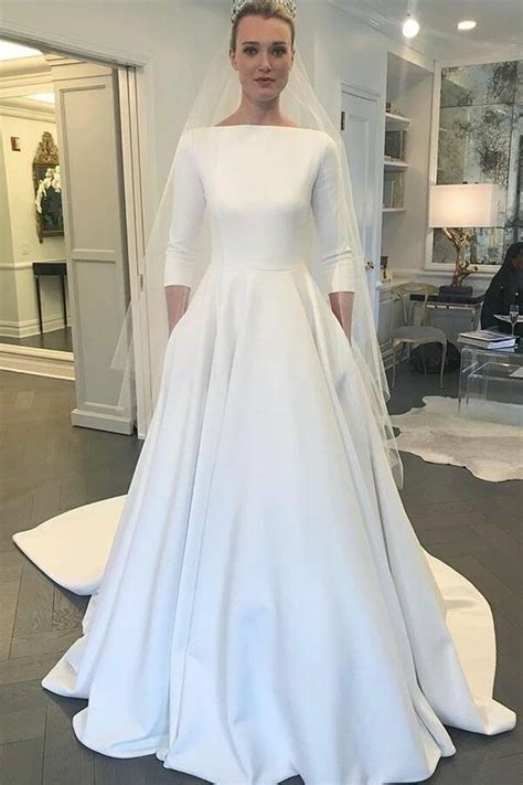 boat neck  sleeves satin wedding gown  pockets