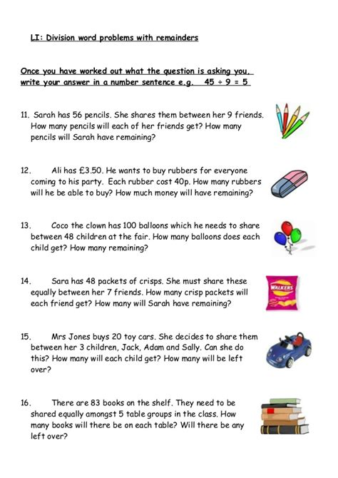 division word probswithremainders