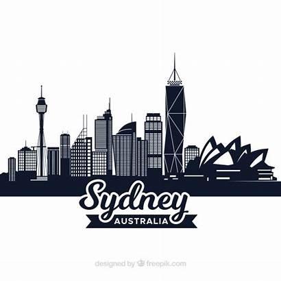 Sydney Skyline Australia Dark Freepik Vector Background