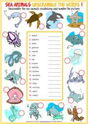 sea animals esl vocabulary worksheets