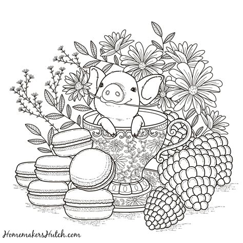 Pig in a Tea Cup Adult Coloring Page Coloring pages