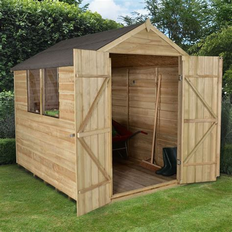 shed b and q 8x6 apex overlap wooden shed base included departments