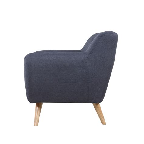 mid century polo blue chair modern tufted button accent