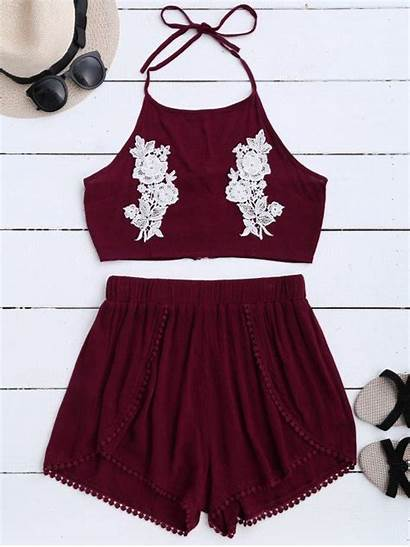 Crop Shorts Zaful Halter Lace Floral Tops