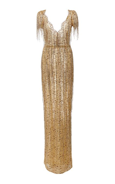 kaos prada marchesa bugle beaded fringe lace gown in metallic lyst