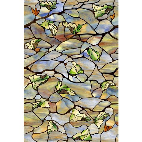 artscape etched leaf decorative window artscape 24 in x 36 in vista decorative window 01
