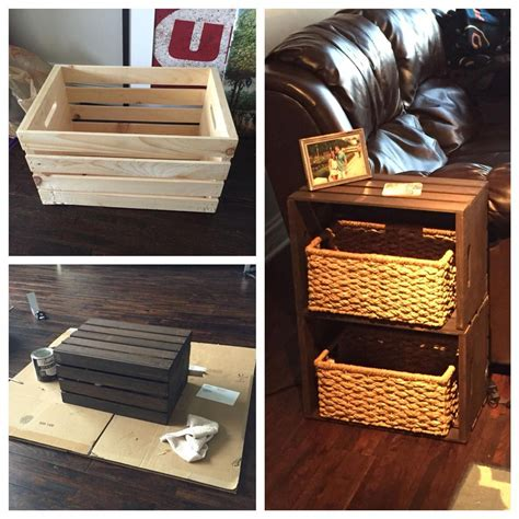 Save by building a homemade table, and stay in style. End table made from home depot wine crates #rustichomeofficefurniturediyprojects   Diy furniture ...