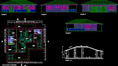 single storey wooden duplex country house  dwg full
