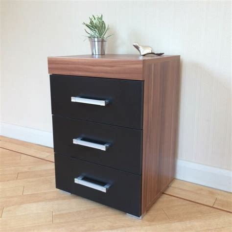 Bedside Drawers by Walnut Bedside Cabinet Table 3 Drawer Black 3 Draw Chest